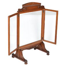 Beveled glass quartered oak folding fire screen