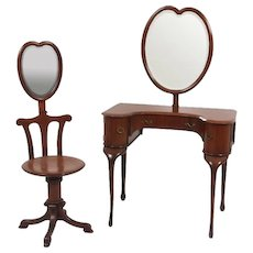 Heart shaped adjustable mirror mahogany vanity and matching chair