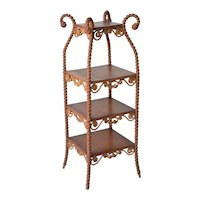 Heywood Wakefield Victorian wicker etagere or bric-a-brac-stand