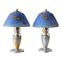 Moe-Bridges Co, Milwaukee matched pair of boudoir lamps with reverse painted shades in original boxes!