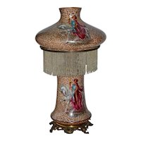 Pittsburgh Company table lamp with success font and figural decorated glass base and shade