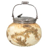 Mount Washington Crown Milano biscuit jar with butterflies and dogwood blossoms on top