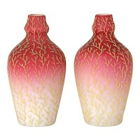 Mount Washington coralene pair of glass vases