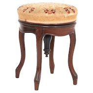 Victorian rosewood piano or organ stool with swivel top