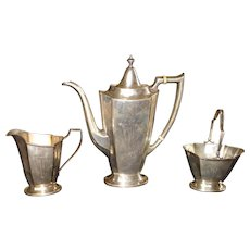 Three piece Sterling Silver Teaset made by the International Silver Co