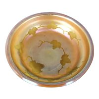 L. C. Tiffany favrile shallow bowl with intaglio ct glass surface