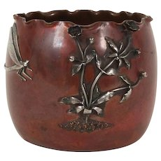 Gorham & Co mixed metal vase with applied silver decoration with dragon fly.