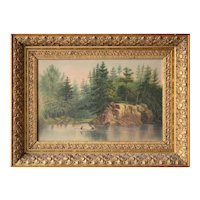 Victorian painting on board of a rustic lake scene in original gilt frame