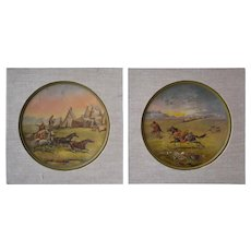 Two Victorian era western paintings on brass plates by F. Hartung.