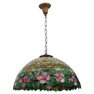 Large leaded glass Tiffany style hanging lamp
