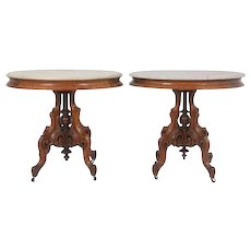 Pair Of Victorian Walnut Oval Marble Top Tables Attributed To Thomas Brooks
