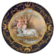 Royal Vienna Victorian portrait plate with a cupid design and cobalt blue decoration