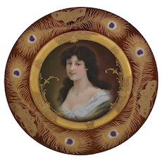 Royal Vienna Victorian portrait plate of woman with peacock feather border