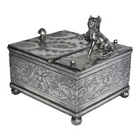 Derby Silver Company silver plated humidor with standing dog