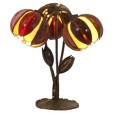 Brass based pond lily table lamp