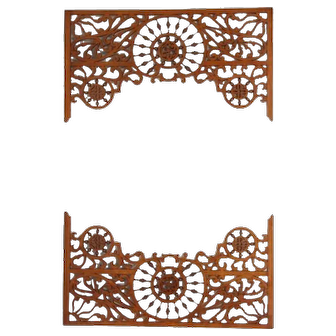 Matched pair of Victorian oak room divider fretworks