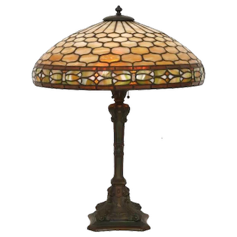 """Duffner and Kimberly 19"""" diameter leaded glass table lamp"""