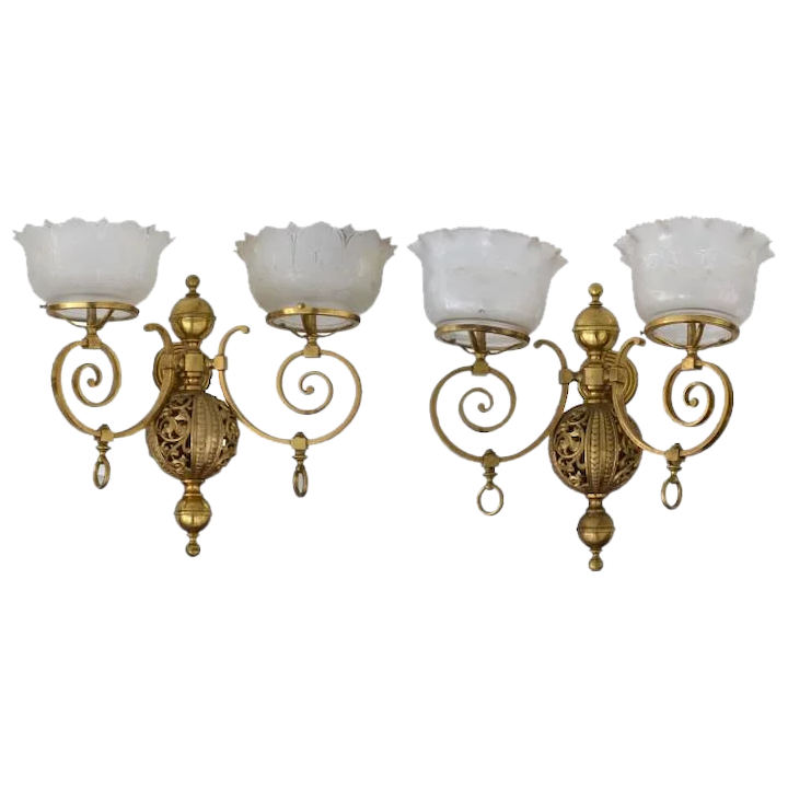size 40 3ffc8 7467b Matched pair of brass Victorian wall gas sconces with double arms and  etched shades