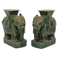 Pair of Asian elephant pottery garden seats