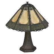 Fine Panel slag glass lamp with filigree over the glass