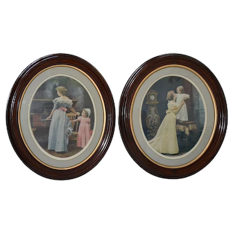 Great pair of oval walnut Victorian frames with prints