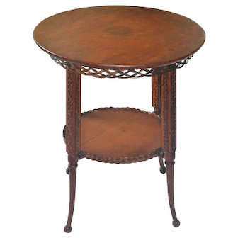 Round wicker Heywood Brothers stand with oak top in original finish
