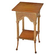 Square Victorian wicker stand with oak top