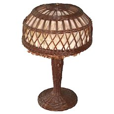 Small size Victorian wicker lamp