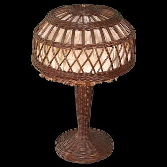 Small size Victorian wicker lamp