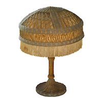 Large Heywood Brothers and Wakefield Company natural finish wicker Victorian table lamp
