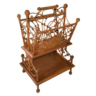 Victorian natural finish wicker magazine holder by J.M. Virgin & Son, Saco, ME