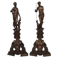 Huge pair of Victorian bronze chenets