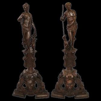 Huge pair of Victorian bronze chenets