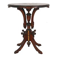 Renaissance Revival walnut Victorian oval stand with marquetry inlaid top