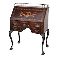 George Flint mahogany late Victorian slant lid desk with metal inlay