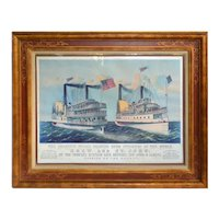 Currier & Ives print Drew and St. John Steamers passing on the Hudson.  Copywrited 1878