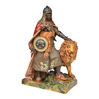 Wilhelm Schiller majolica statue of North African soldier and lion