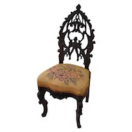 Rococo Victorian solid  rosewood slipper chair with needlepoint seat