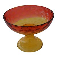 Large amberina Victorian compote