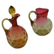 Victorian Amberina small pitcher and cruet