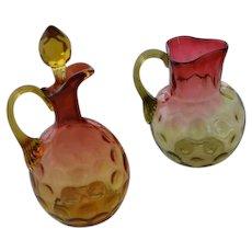 Victorian Amberina small pitcher and cruet