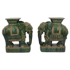 Pair of Asian elephant pottery garden seats