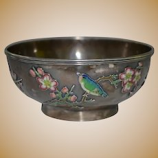 Victorian Chinese Shanghai silver bowl with raised enanel decoration by Wo Shing