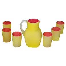 Daimond quilted Victorian satin glass lemonade set in yellow and pink