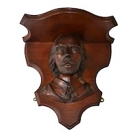 Walnut Victorian carved Shakespeare wall shelf