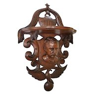 John Haley Bellamy Victorian walnut carved shelf with bust of General George McClellan, eagle and American shield