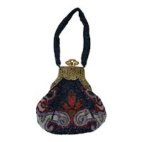 Beautiful woman's beaded purse with silk liner