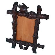Dated 1909 Black Forest walnut frame with bird nest and birds