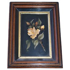 Pietra Dura floral stonework in Victorian walnut frame