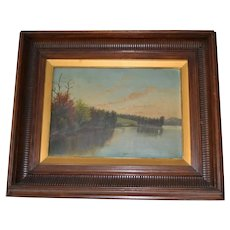 Victorian unsigned lake painting in period walnut frame